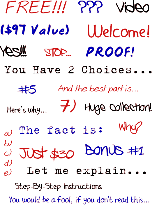 Sales Page Scribbles Web Graphics - Phrases