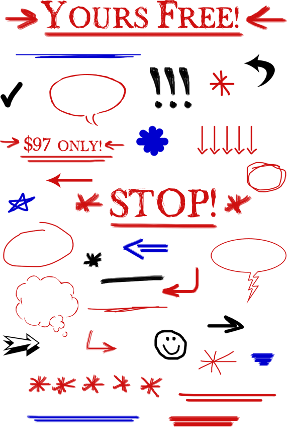 Sales Page Scribbles Web Graphics - Shapes Examples