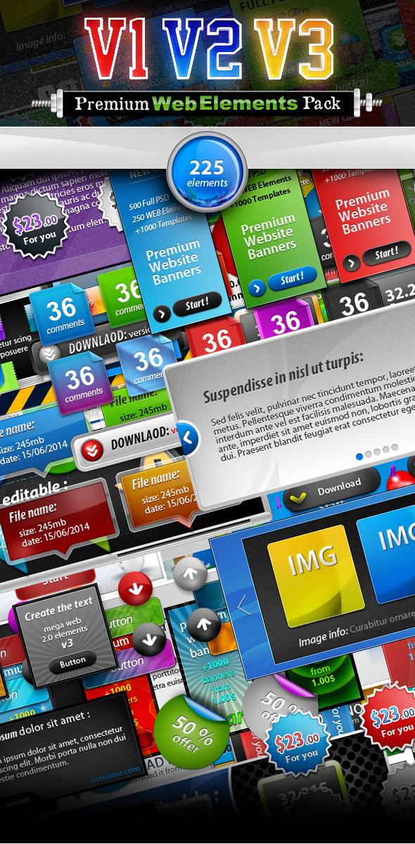 Website Graphics - Premium Web Elements Triple Pack Preview